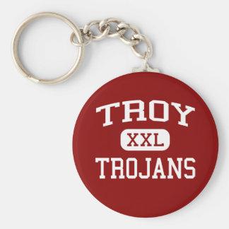 Troy - Trojan - High School secundaria de Troy - T Llavero Redondo Tipo Pin
