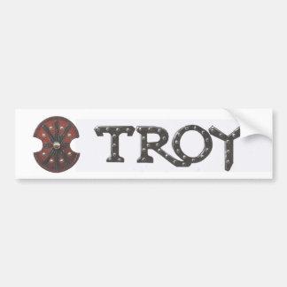 Troy with shield car bumper sticker