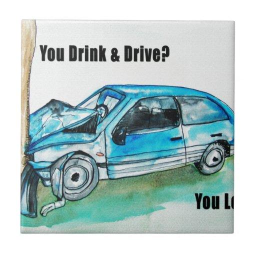 troygift drunk driving ceramic tiles