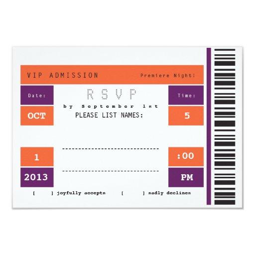 Trozo de boleto del concierto RSVP Comunicados Personalizados