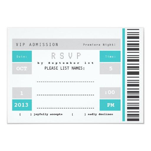 Trozo de boleto del concierto RSVP Invitación 8,9 X 12,7 Cm