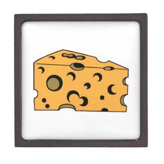Trozo del queso suizo caja de regalo de calidad