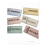 Trozos de boleto tarjeta postal