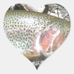 Trucha arco iris calcomania corazon personalizadas