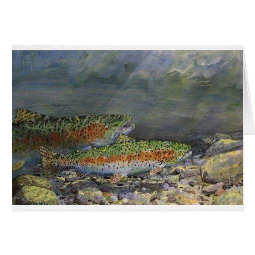 Trucha arco iris tarjeta de felicitación