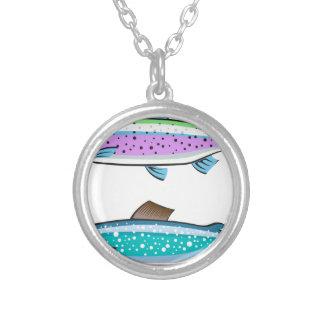 Trucha del arco iris y de lago colgante redondo