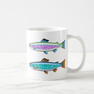 Trucha del arco iris y de lago taza clásica