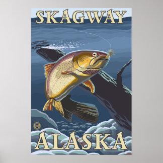 Trucha que pesca la sección representativa - Skagw Póster