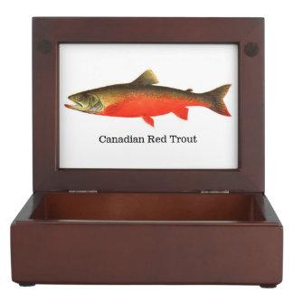 Trucha roja canadiense cajas de recuerdos