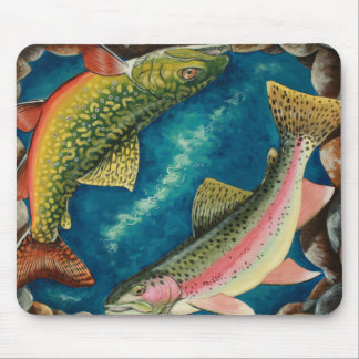 Trucha y trucha arco iris de arroyo mousepads