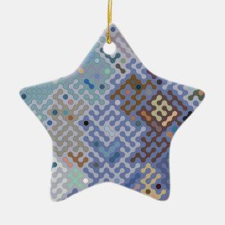 Truchet pattern 1 - blue brown ceramic ornament