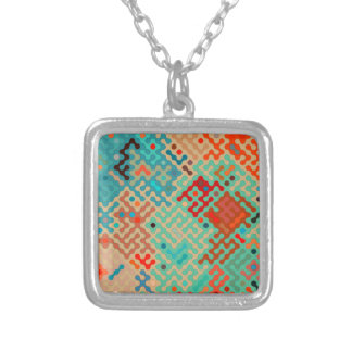 Truchet pattern 1 - red blue square pendant necklace