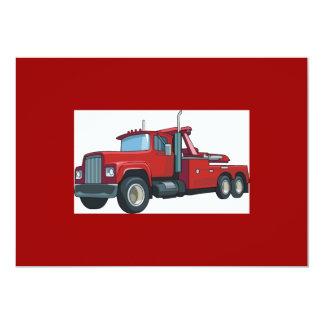 Truck0037 BIG RIG TRUCK RED TRANSPORTATION WORK 5x7 Paper Invitation Card