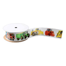 Truck and Construction Birthday Party Satin Ribbon