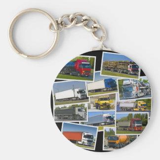 truck basic round button keychain