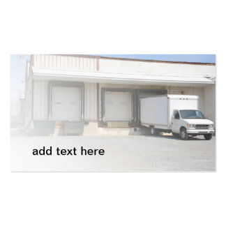 truck by an unloading dock business card templates