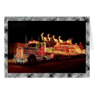 Truck completely covered with Christmas lights Card