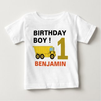 Truck Construction 1st Birthday Party Baby T-Shirt