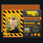 "Truck Construction Birthday Party Photo Invitation<br><div class=""desc"">Amaze your guests with this cool construction birthday party invite featuring trucks and cute construction elements with modern typography against a chalkboard background. Simply add your event details on this easy-to-use template and adorn this card with your child&#39;s favorite photo to make it a one-of-a-kind invitation. Flip the card over...</div>"