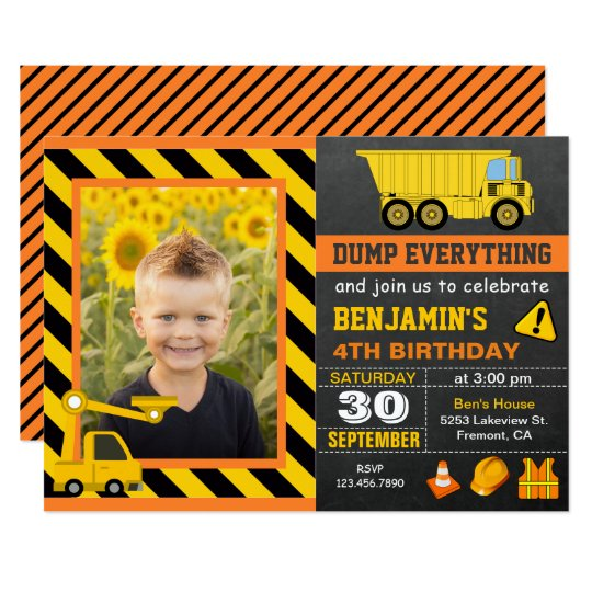 Truck Construction Birthday Party Photo Invitation
