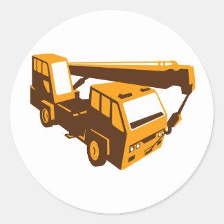 truck crane cartage hoist retro classic round sticker