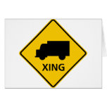 Truck Crossing Highway Sign Greeting Card