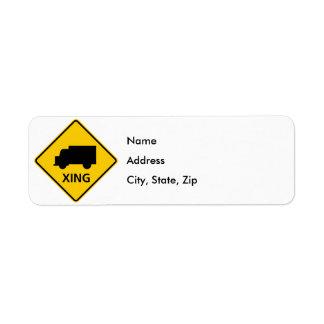 Truck Crossing Highway Sign Return Address Label