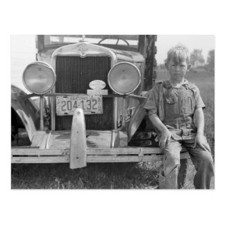 Truck del recogedor migratorio de la fruta, 1940 postal
