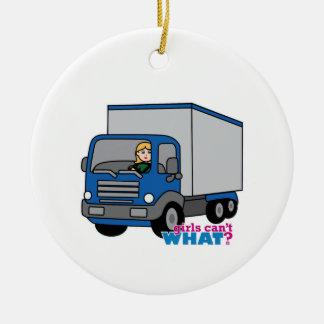 Truck Driver - Blue Truck Ceramic Ornament