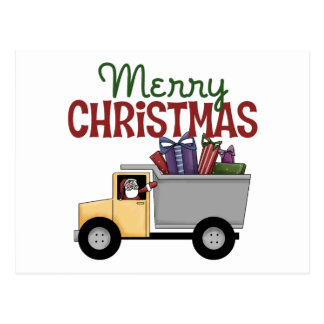 Truck Driver Christmas Post Card