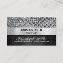 Truck Driver - Diamond Metal Plate Business Card