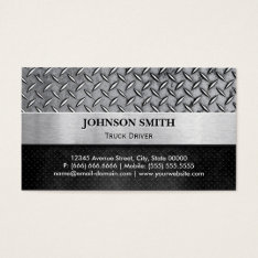 Truck Driver - Diamond Metal Plate Business Card at Zazzle