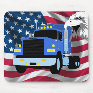 Truck Driver Mousepad with US Flag and Eagle