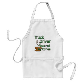 Truck Driver Powered by Coffee Adult Apron