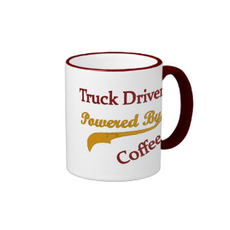 Truck Driver Powered By Coffee Ringer Mug