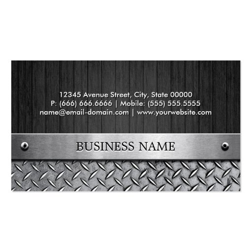 Truck Driver - Wood and Metal Look Business Card (back side)