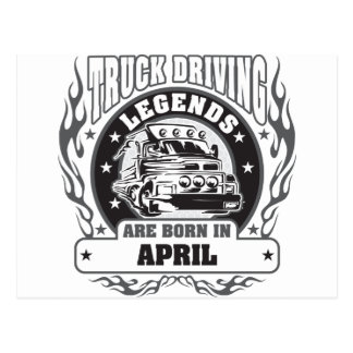 Truck Driving Legends Are Born In April Postcard
