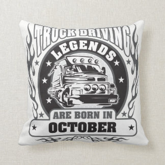 Truck Driving Legends Are Born In October Throw Pillow