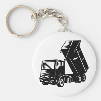 truck dump dumper tipper lorry basic round button keychain