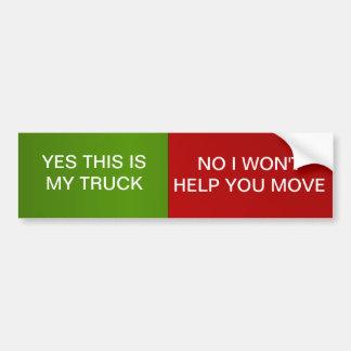 Truck Humor Car Bumper Sticker