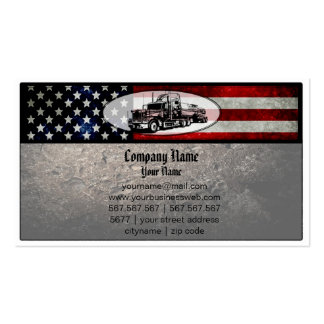 Truck in American Flag Background Double-Sided Standard Business Cards (Pack Of 100)