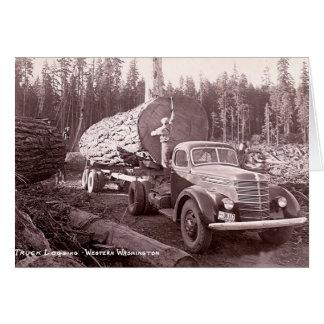 Truck Logging in Western Washington, 1940 Card