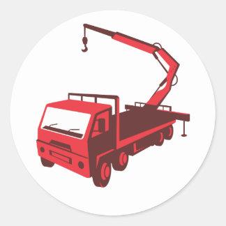 truck mounted crane cartage hoist retro classic round sticker