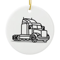 Truck Outline Ceramic Ornament