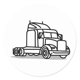 Truck Outline Classic Round Sticker