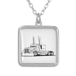Truck Outline Silver Plated Necklace