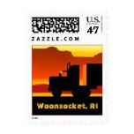 Truck Semi Travel Stamp Rhode Island Woonsocket RI