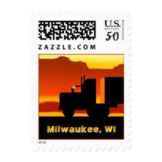 Truck Semi Travel Stamp Wisconsin Milwaukee WI