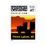 Truck Semi Travel Stamp Wisconsin Three Lakes WI