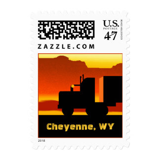 Truck Semi Travel Stamp Wyoming Cheyenne WY